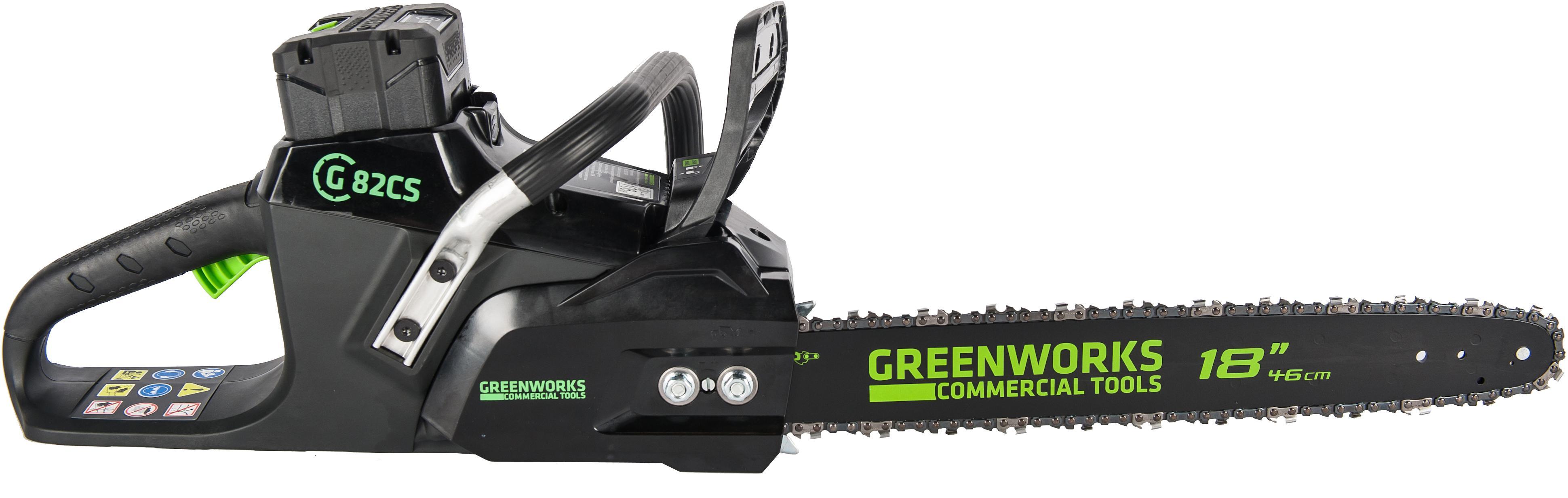 Пила цепная аккумуляторная Greenworks GС82csk5 (2001607ub) 1акк 82v 5Ач + ЗУ пила цепная аккумуляторная greenworks gd60cs40 2001807 без аккум и зу