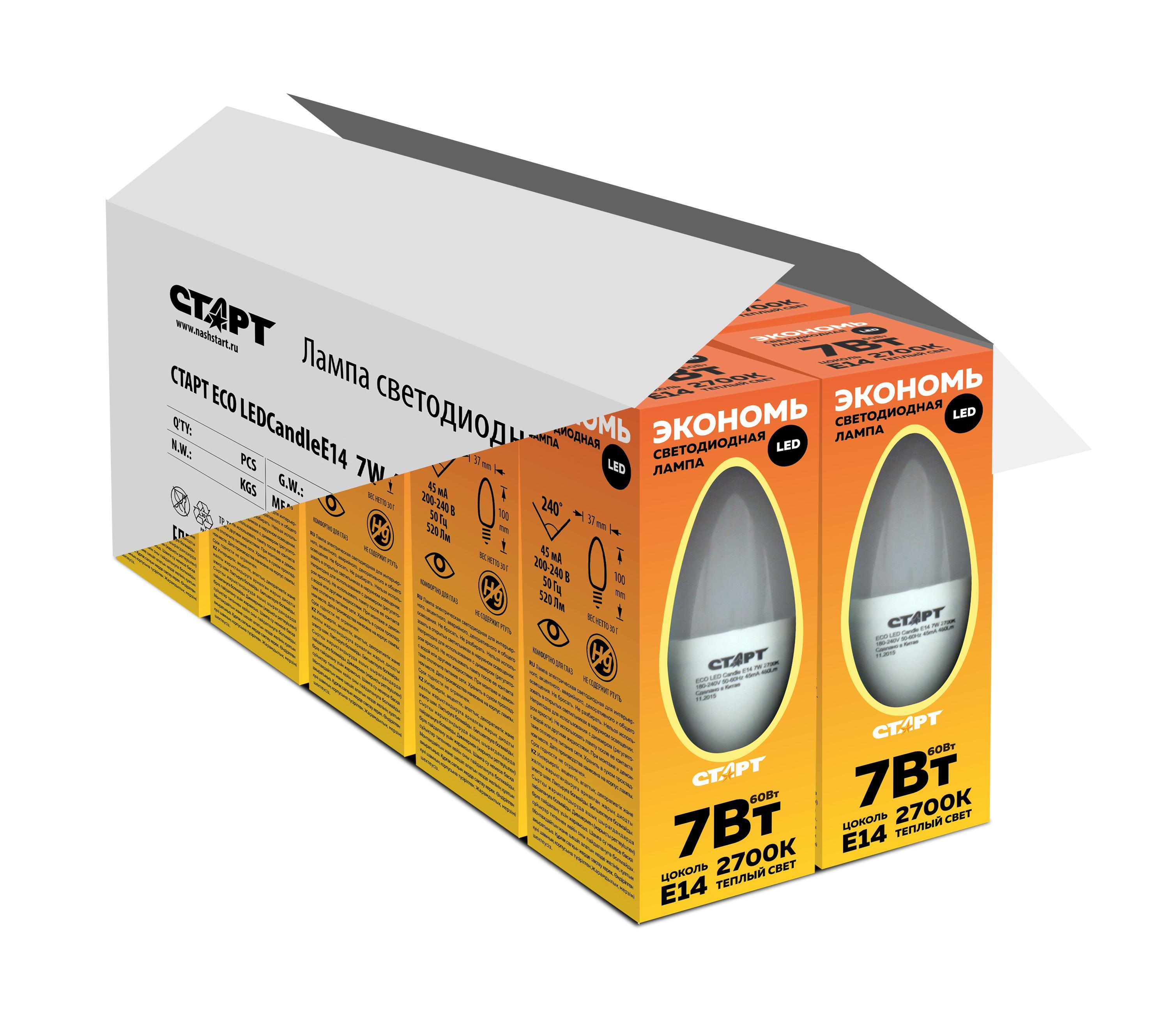 Лампа светодиодная СТАРТ Eco ledcandle e14 7w 3000К тепл. cвет ПРОМОНАБОР
