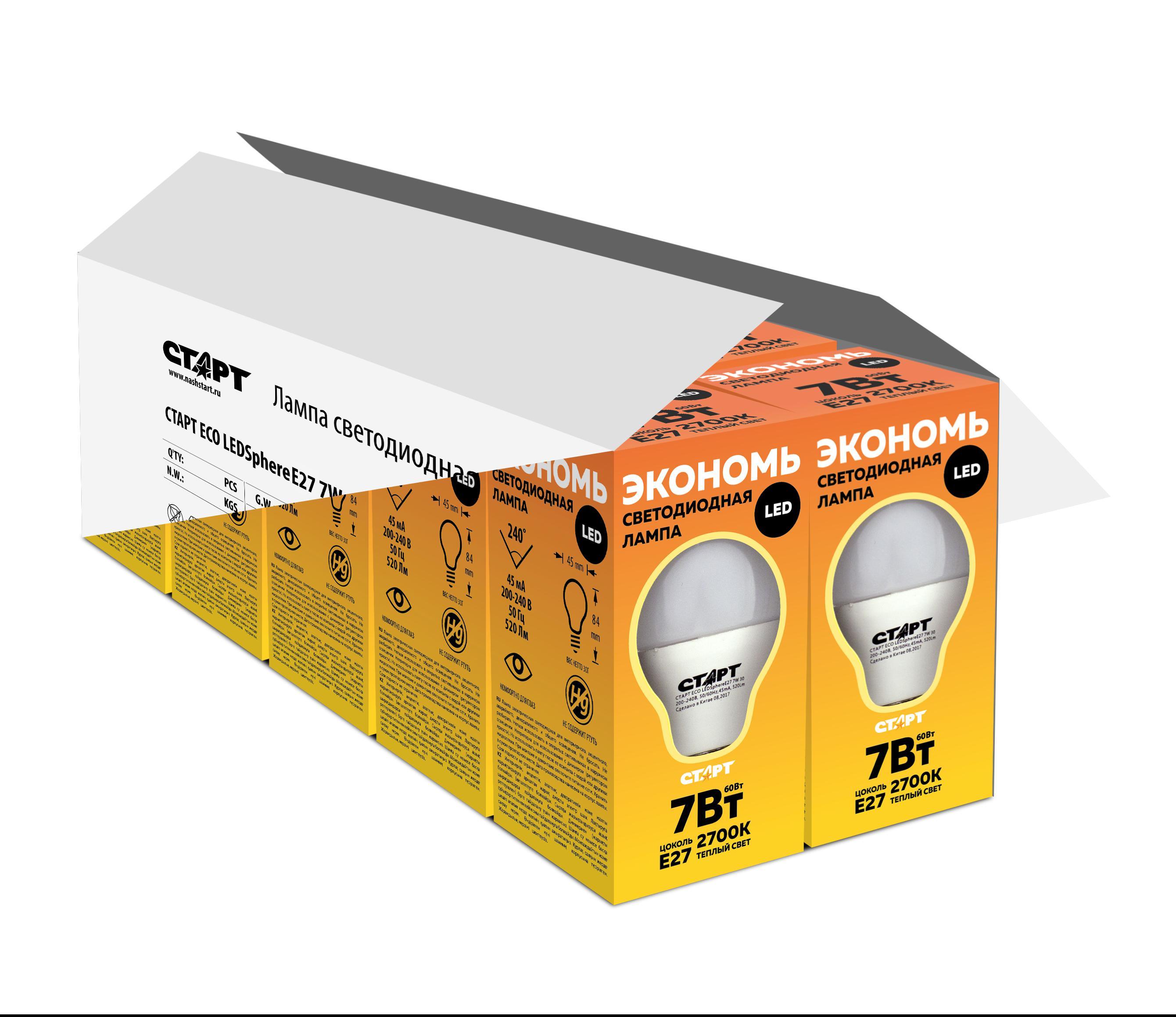 Лампа светодиодная СТАРТ Eco ledsphere e27 7w 3000К тепл свет. ПРОМОНАБОР светодиодная лампа kosmos теплый свет цоколь e27 7w 220v lksm led7wr63e2730