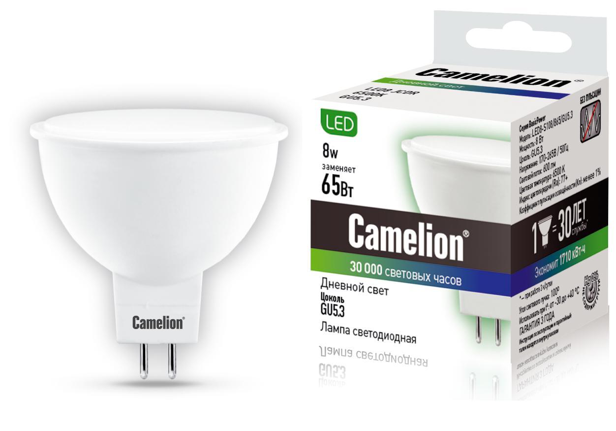 Лампа Camelion Led8-s108/865/gu5.3