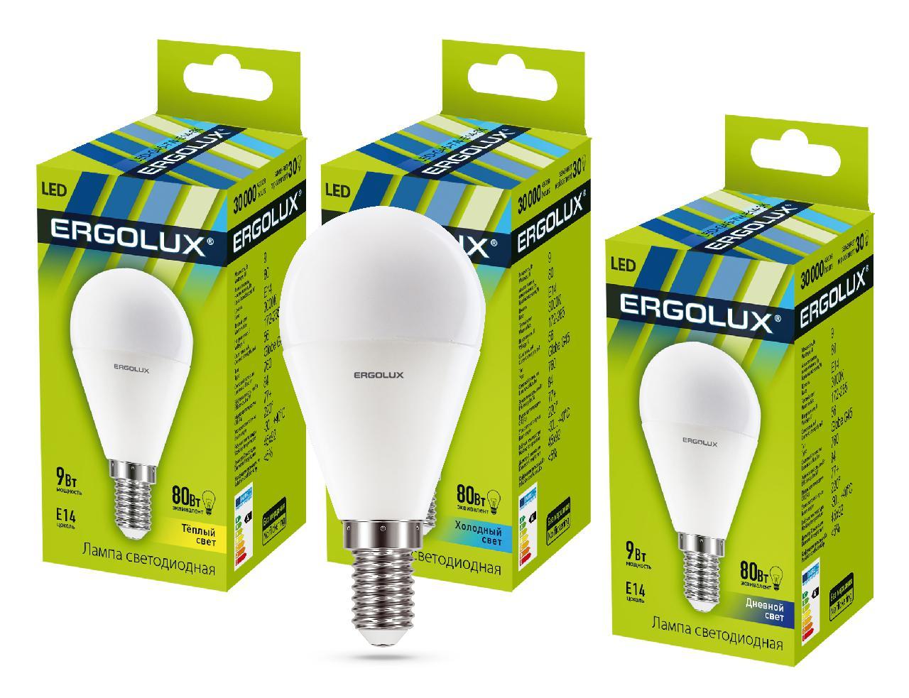 Лампа Ergolux Led-g45-9w-e14-4k