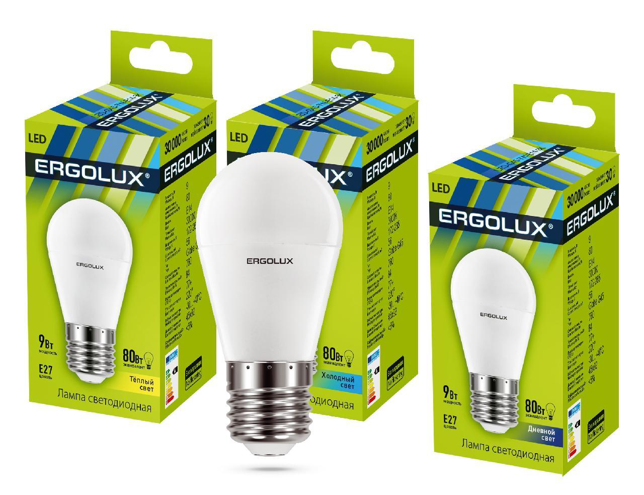 купить Лампа Ergolux Led-g45-9w-e27-3k недорого