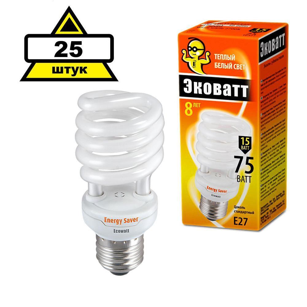 Набор Ecowatt Лампа энергосберегающая mini sp 15w 827 e27 25шт