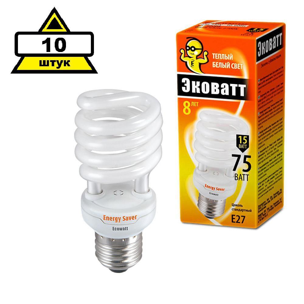 Набор Ecowatt Лампа энергосберегающая mini sp 15w 827 e27 10шт