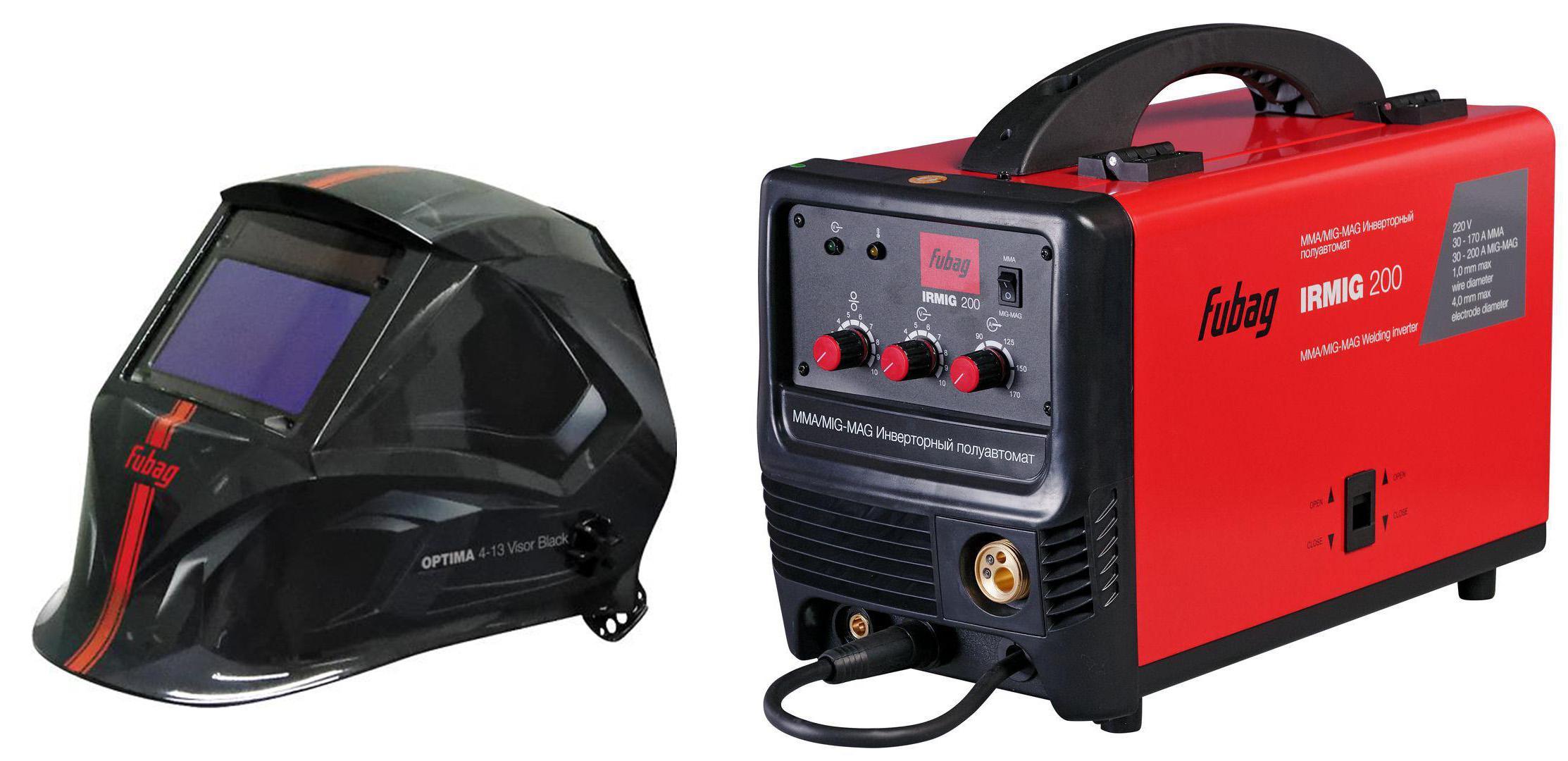 Купить Набор Fubag Сварочный полуавтомат irmig 200 38609 + горелка fb 250 3 м +Маска optima 4-13 visor black, Китай