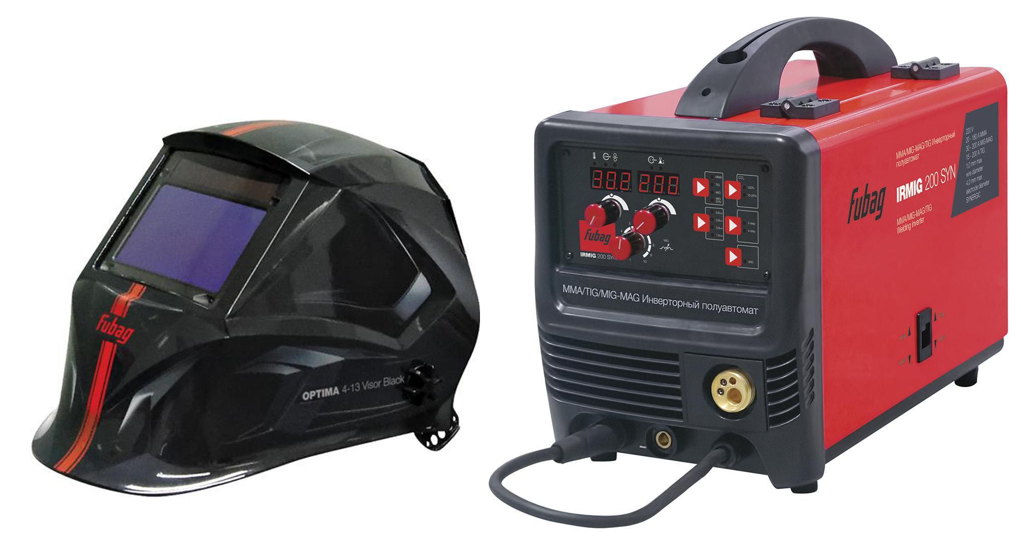 Купить Набор Fubag Сварочный полуавтомат fubag irmig 200 syn 38643 + горелка fb 250 3 м +Маска optima 4-13 visor black, Китай