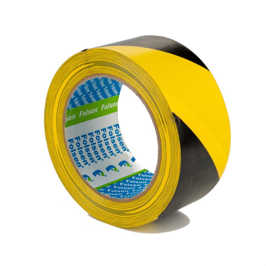 Лента сигнальная Folsen 663350 клейкая ПВХ лента сигнальная fit цвет черно желтый 50 мм х 100 м