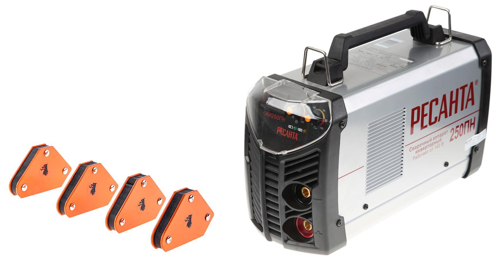 цена на Набор РЕСАНТА Сварочный аппарат САИ 250 ПН инверторный +Угольник магнитный mcs