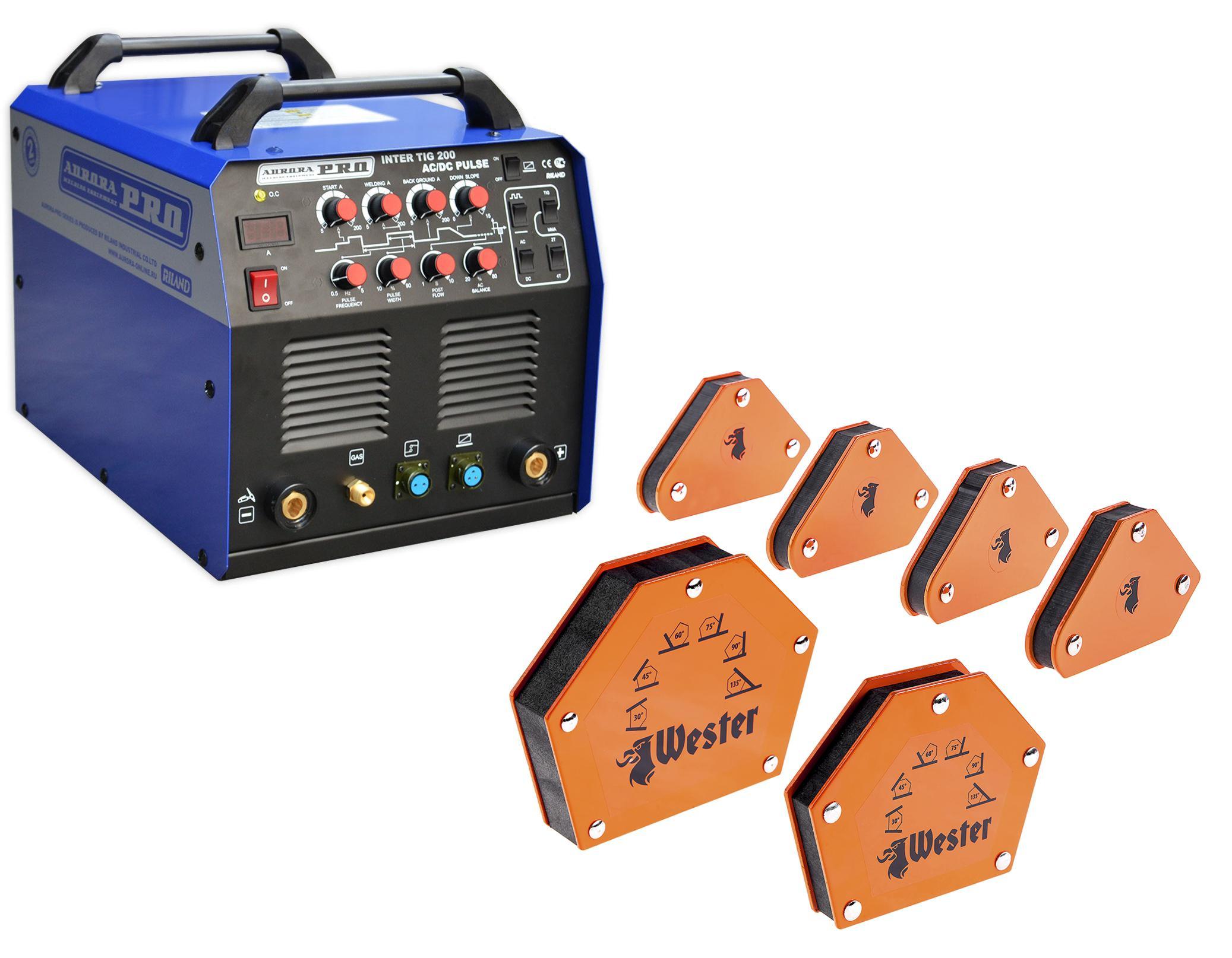 Набор Aurora pro Сварочный аппарат inter tig 200 ac/dc pulse mosfet +Угольник магнитный mcs +Угольник магнитный wmct50 +Угольник магнитный wmct75 сварочный аппарат aurora pro inter tig 200 pulse