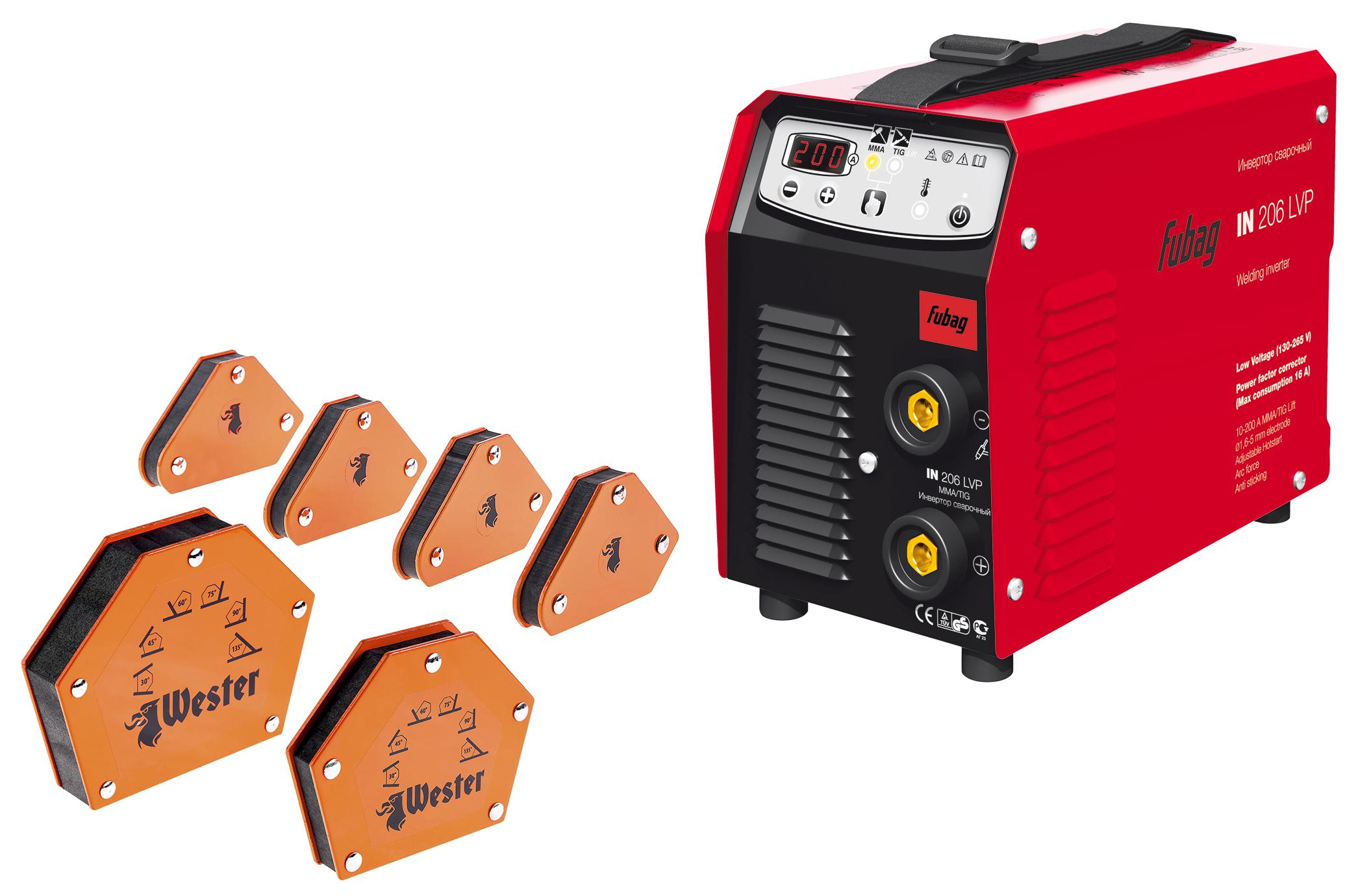 Набор Fubag Сварочный аппарат in 206 lvp +Угольник магнитный mcs +Угольник магнитный wmct50 +Угольник магнитный wmct75 цены