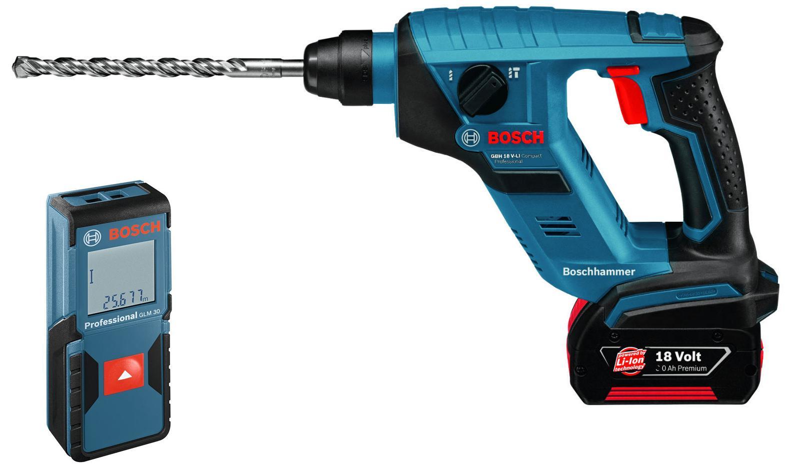 Набор Bosch Перфоратор 611905300 gbh 18 v-li compact (0.611.905.300) +Дальномер glm 30 (0.601.072.500)