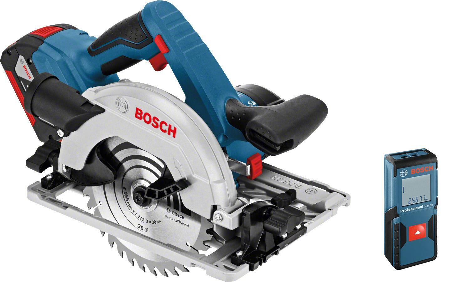 Набор Bosch Пила циркулярная gks 18 v-li r l-boxx (0.601.6a2.100) +Дальномер glm 30 (0.601.072.500)