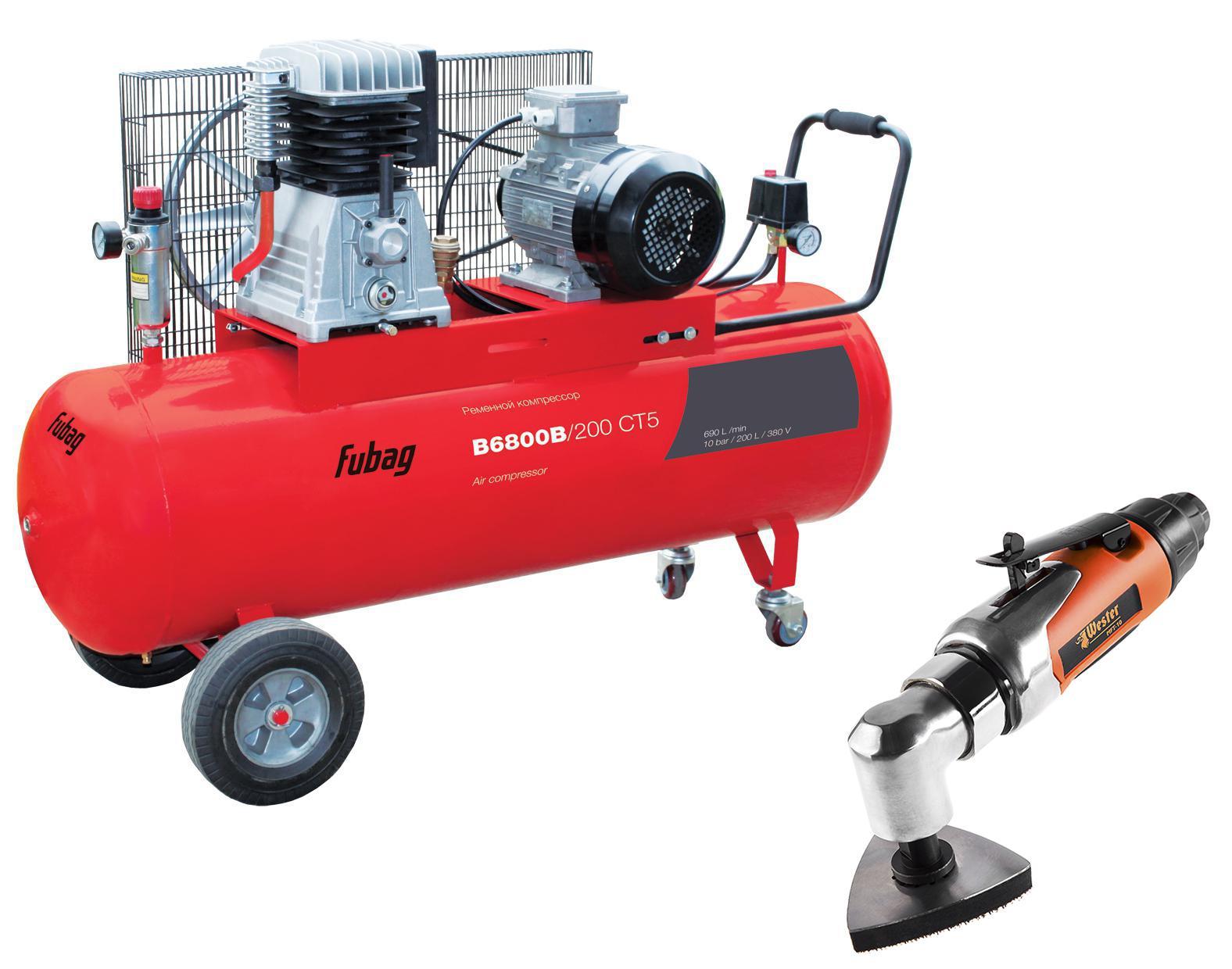 цена на Набор Fubag Компрессор b6800b/200 СТ5 +Инструмент многофункциональный mft-10