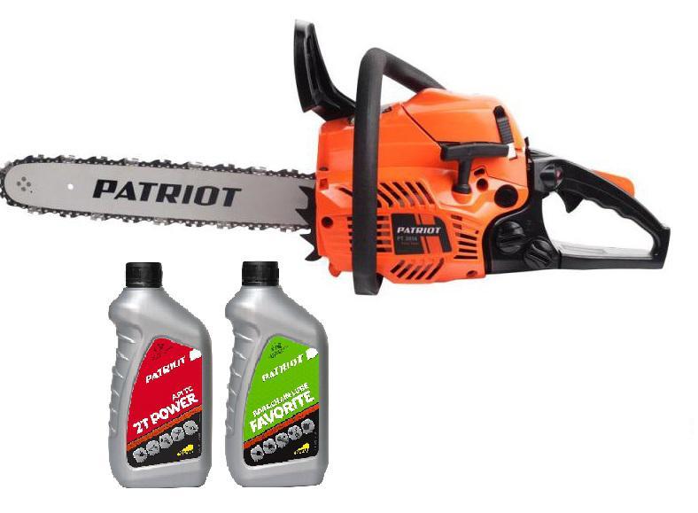 Набор Patriot Бензопила pt3816 +Масло моторное бензиновое power active 2t +Масло для пильных цепей favorite bar&chain lube