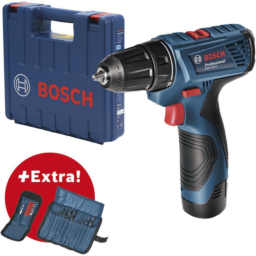 Дрель-шуруповерт Bosch Gsr 120-li (06019f7004)+ н-р сверл 12шт и н-р бит 11шт