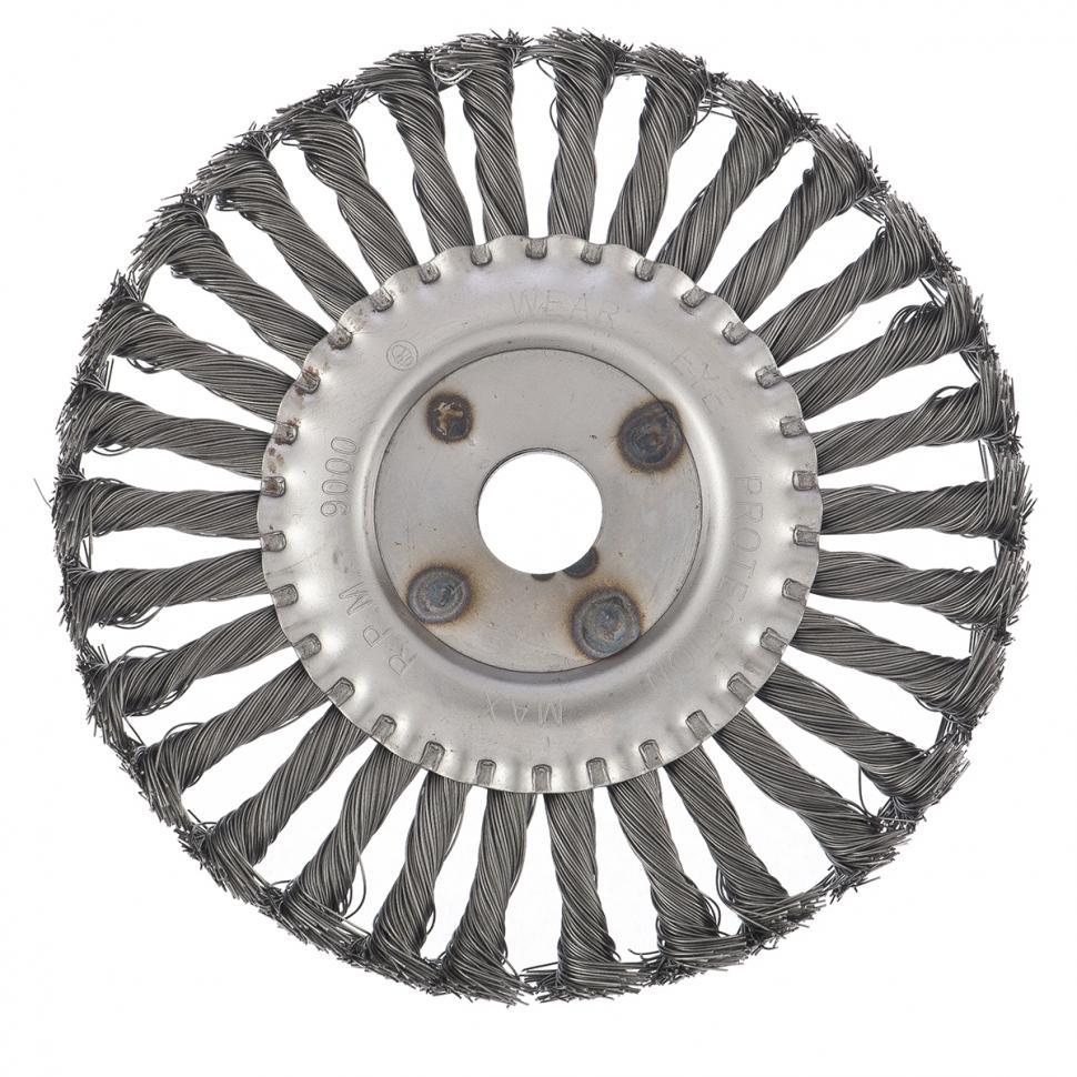 Кордщетка СИБРТЕХ плоская 175мм для УШМ витая сталь (746367) кордщетка edge плоская 180мм для ушм витая сталь 813010013