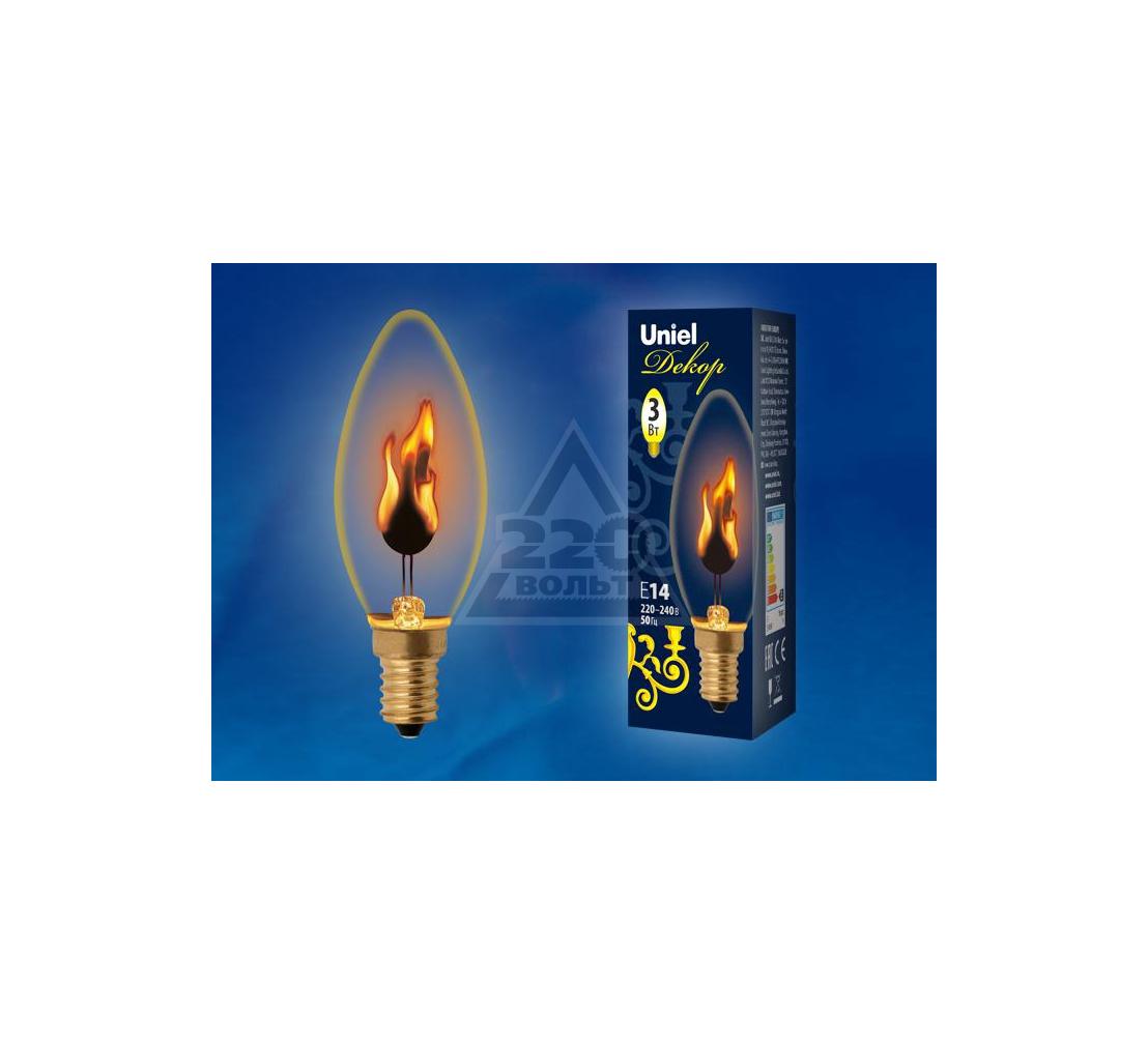Лампа UNIEL IL-N-C35-3/RED-FLAME/E14/CL