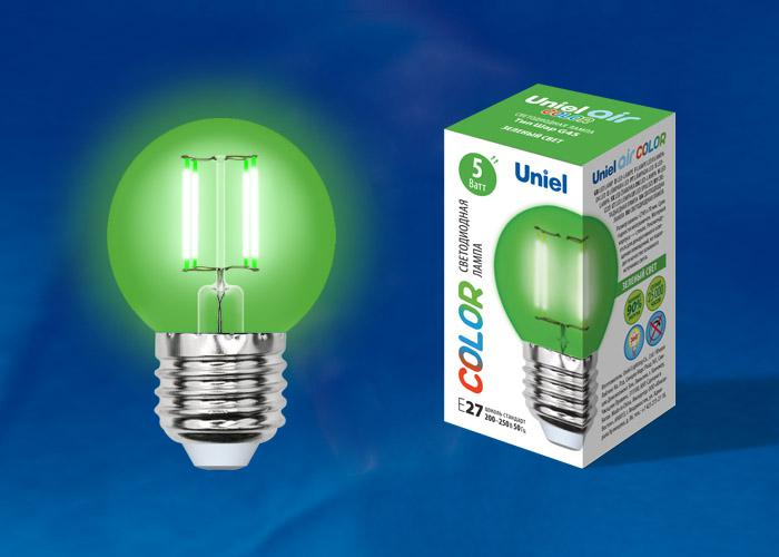 Лампа Uniel Led-g45-5w/green/e27