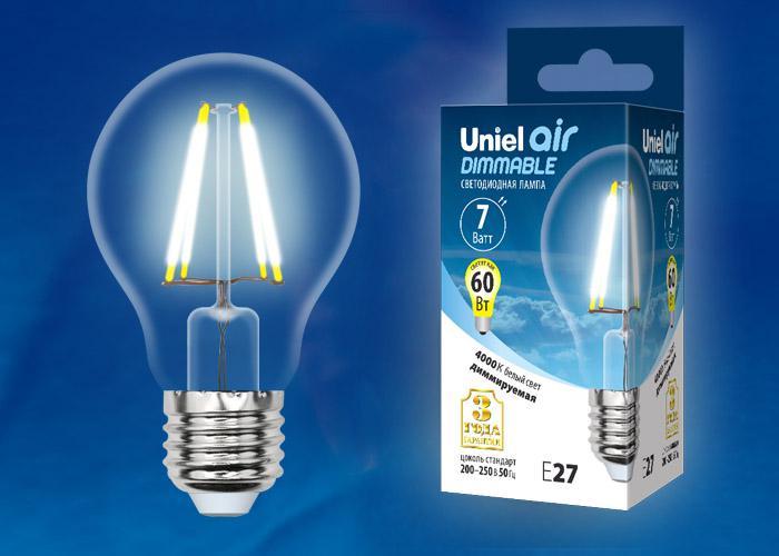Лампа Uniel Led-a60-7w/nw/e27/cl/dim