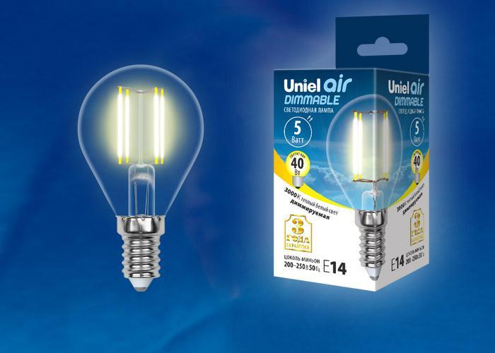 Лампа Uniel Led-g45-5w/ww/e14/cl/dim