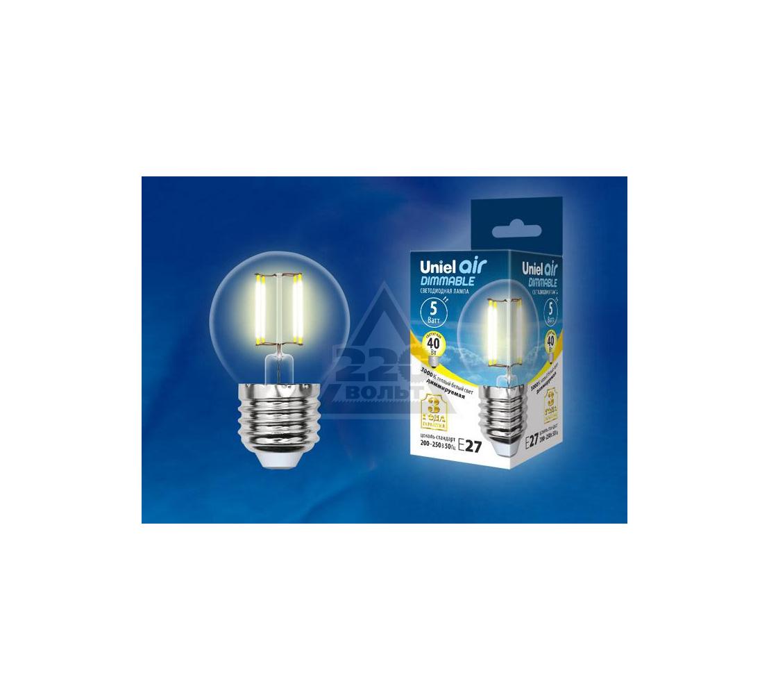 Лампа UNIEL LED-G45-5W/WW/E27/CL/DIM