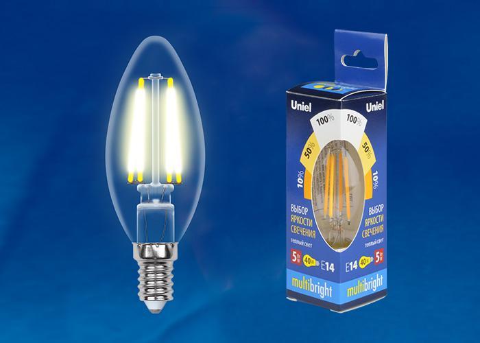 Лампа Uniel Led-c35-5w/ww/e14/cl/mb