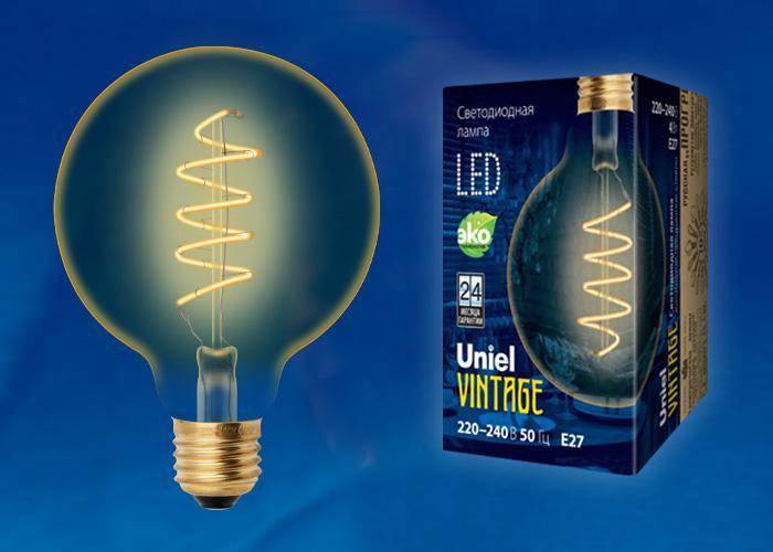 Лампа Uniel Led-g95-4w/golden/e27/cw лампа светодиодная филаментная ul 00001818 uniel e27 4w 2250k прозрачная led g95 4w golden e27 cw glv21go