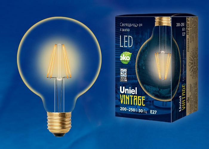 Лампа Uniel Led-g95-6w/golden/e27