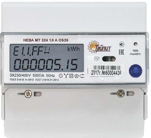 купить Счетчик электроэнергии ТАЙПИТ 6118533 НЕВА МТ 324 1.0 a os 26 по цене 2989 рублей