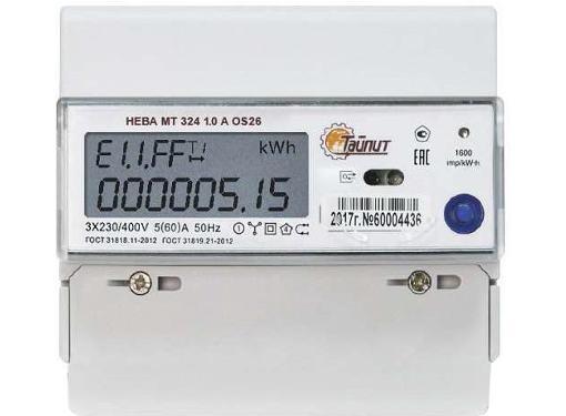 Счетчик электроэнергии ТАЙПИТ 6118533 НЕВА МТ 324 1.0 A OS 26 (трехфазный, многотарифный)