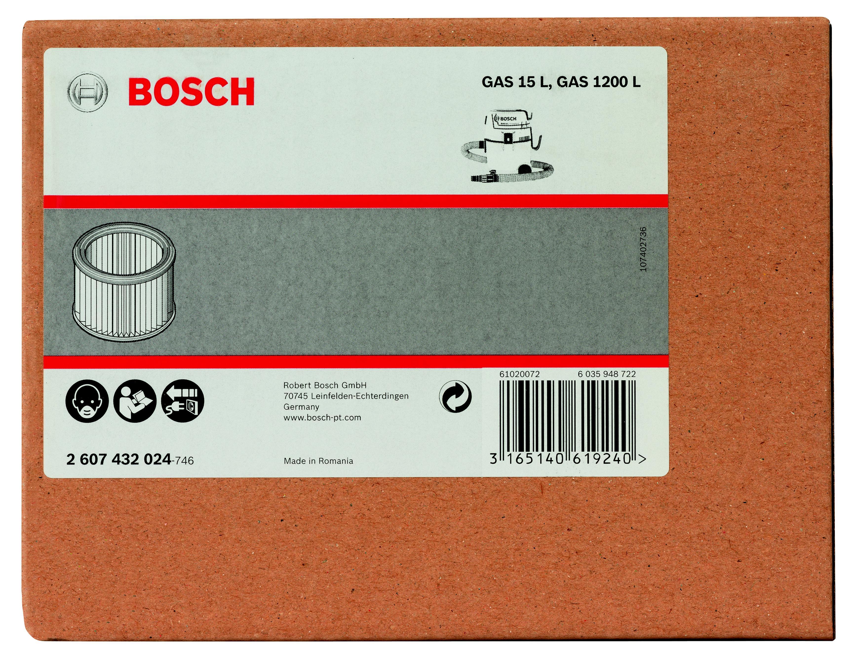 Фильтр Bosch для пылесоса gas 15 l, складчатый (2.607.432.024) фильтр для пылесоса bosch bbz10tfp