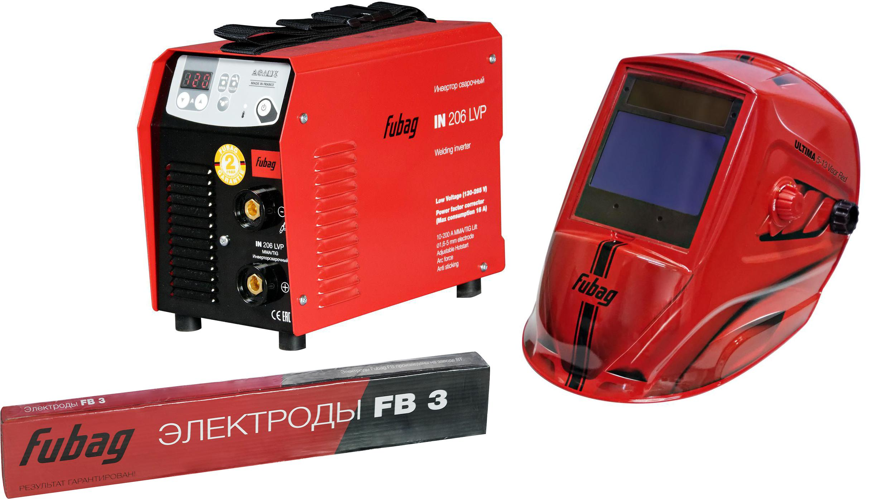 Набор Fubag Сварочный аппарат in 206 lvp +Маска ultima 5-13 visor red +Электроды цены