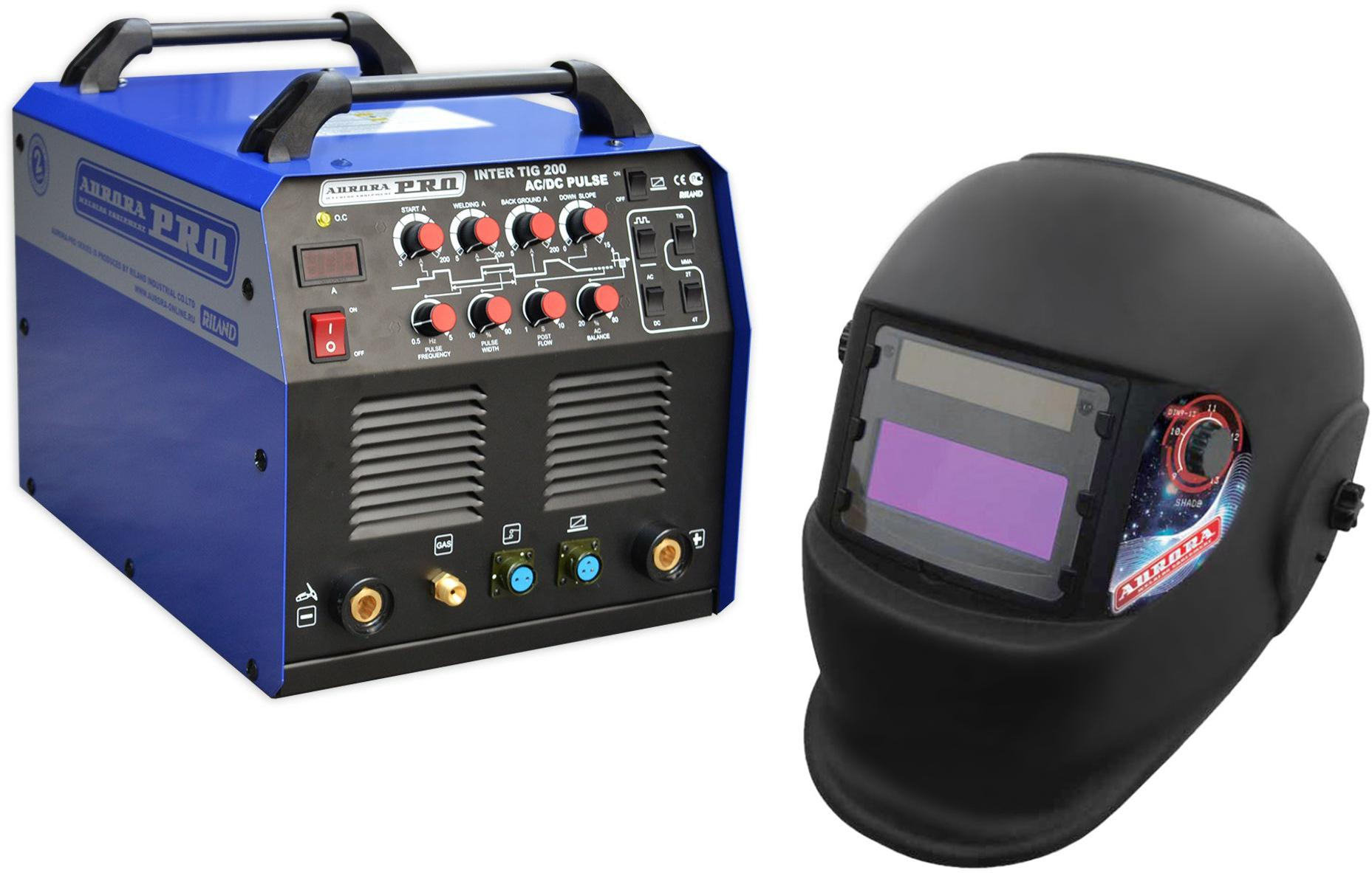 цена на Набор Aurora pro Сварочный аппарат inter tig 200 ac/dc pulse mosfet +Маска a998f(9-13din) black cosmo