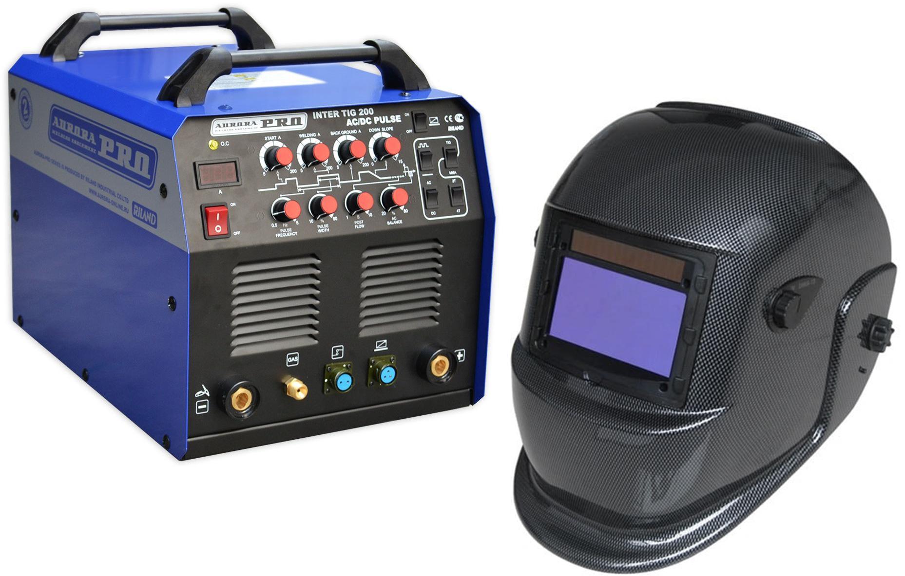 цена на Набор Aurora pro Сварочный аппарат inter tig 200 ac/dc pulse mosfet +Маска s777c (9-13din) carbon