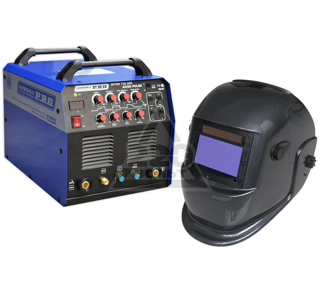 Набор AURORA PRO Сварочный аппарат INTER TIG 200 AC/DC PULSE Mosfet +Маска S777c (9-13DIN) CARBON