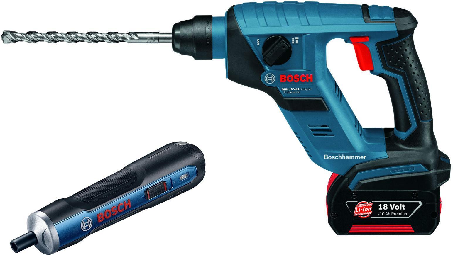 Набор Bosch Перфоратор 611905300 gbh 18 v-li compact (0.611.905.300) +Отвертка аккумуляторная go solo (0.601.9h2.020)
