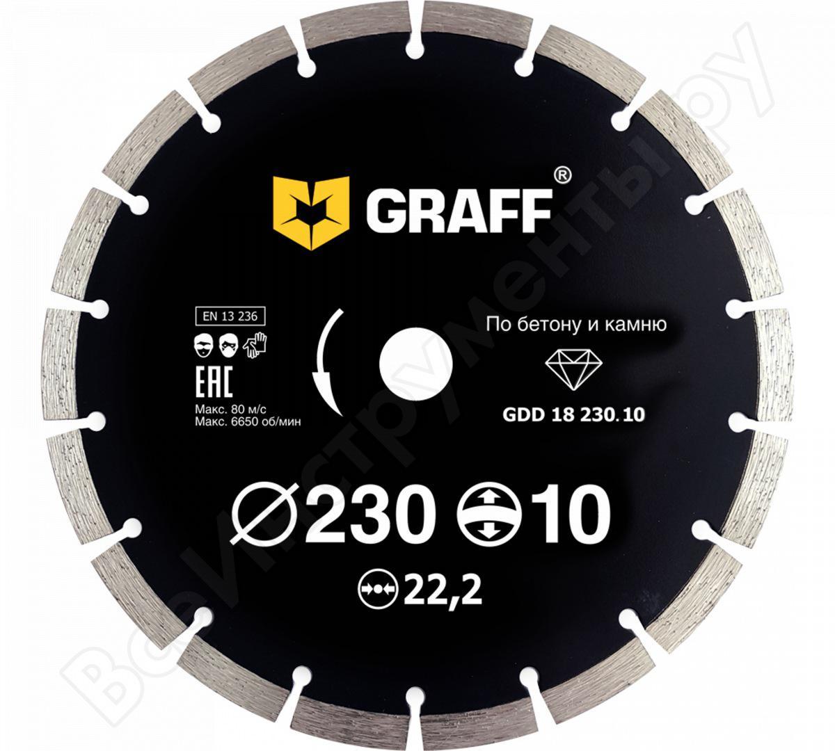 Круг алмазный Graff (gdd 18 230.10) Ф230х22мм по бетону цена и фото