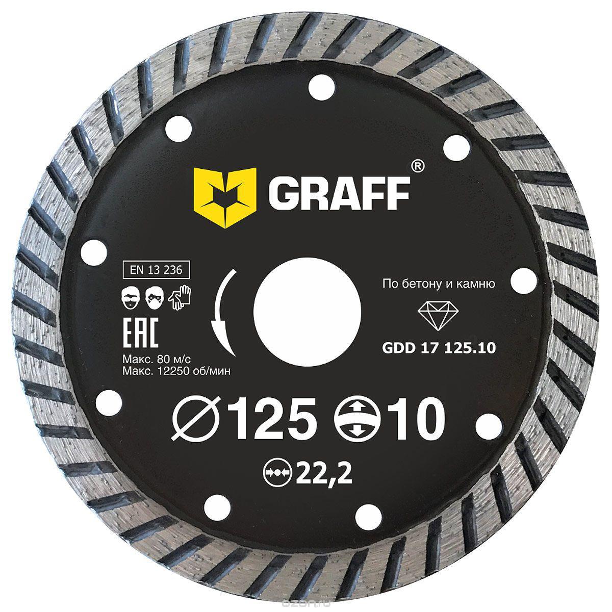 Круг алмазный Graff (gdd 17 125.10) Ф125х22мм по бетону цена и фото
