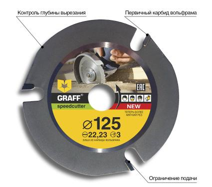 Диск пильный твердосплавный GRAFF Ф125х22мм  3зуб. (speedcutter125)