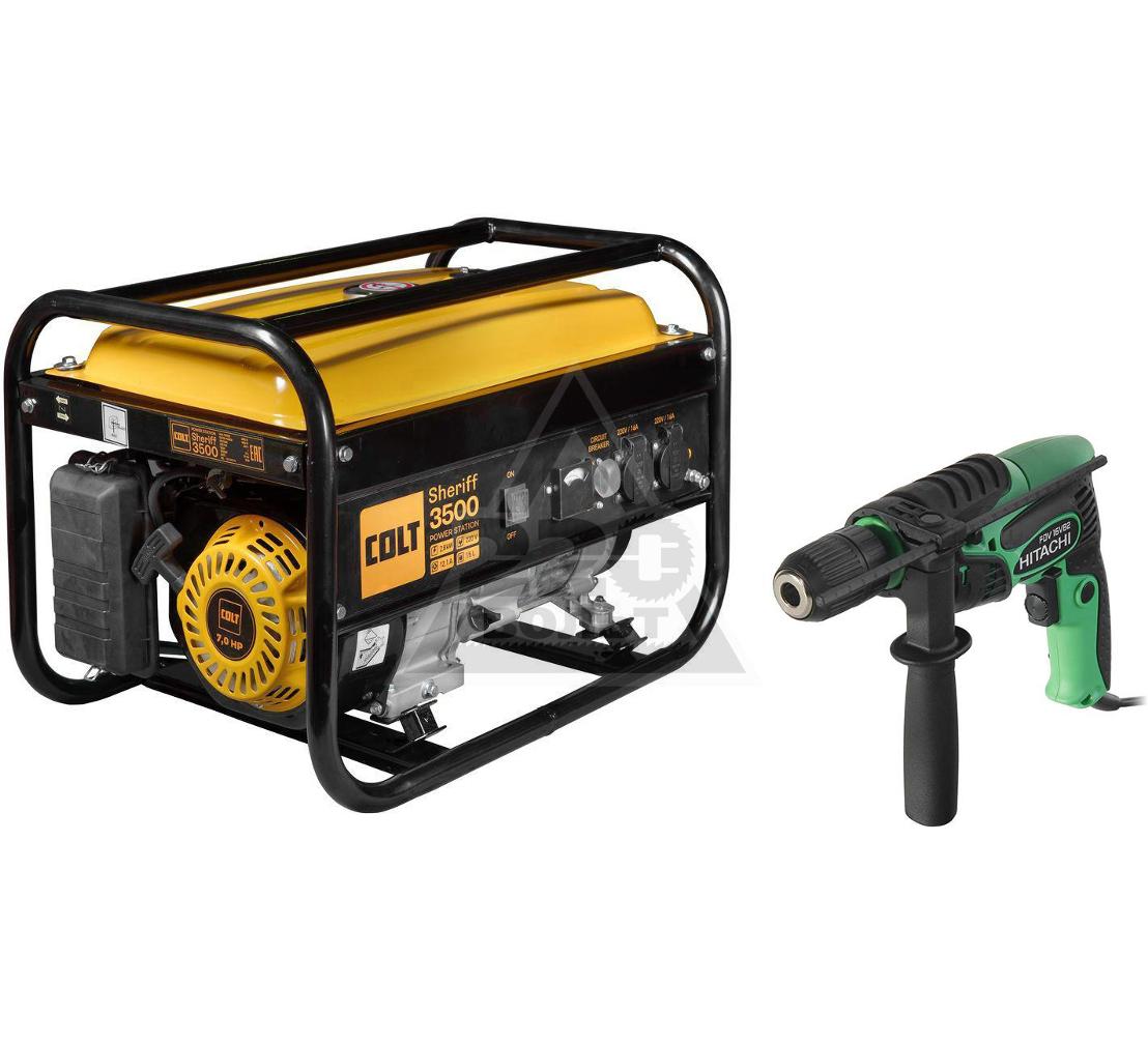 Набор COLT Бензиновый генератор Sheriff 3500 (499202) +Дрель ударная FDV16VB2-NV