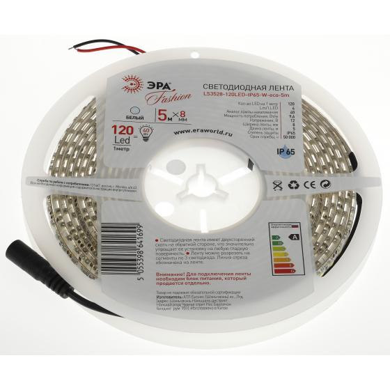 Лента светодиодная ЭРА Ls3528-120led-ip65-w-eco-5m Б0002339 эра ls3528 60led ip20 5m