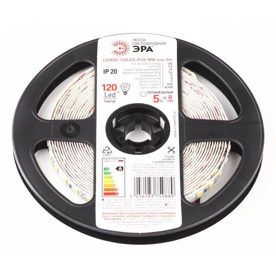 Лента светодиодная ЭРА Ls2835-120led-ip20-ww-eco-5m Б0035596 лента светодиодная iek eco led lsr 3528r60 4 8 ip20 12v lsr1 6 060 20 1 05
