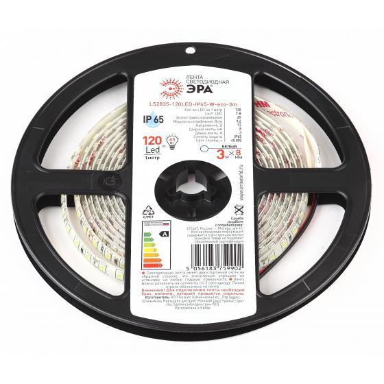 Лента светодиодная ЭРА Ls2835-120led-ip65-w-eco-3m Б0035597 цена