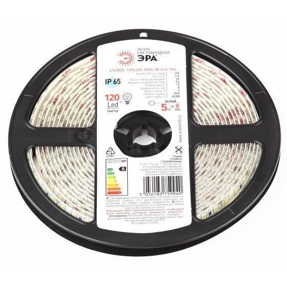 Лента светодиодная ЭРА Ls2835-120led-ip65-w-eco-5m Б0035599