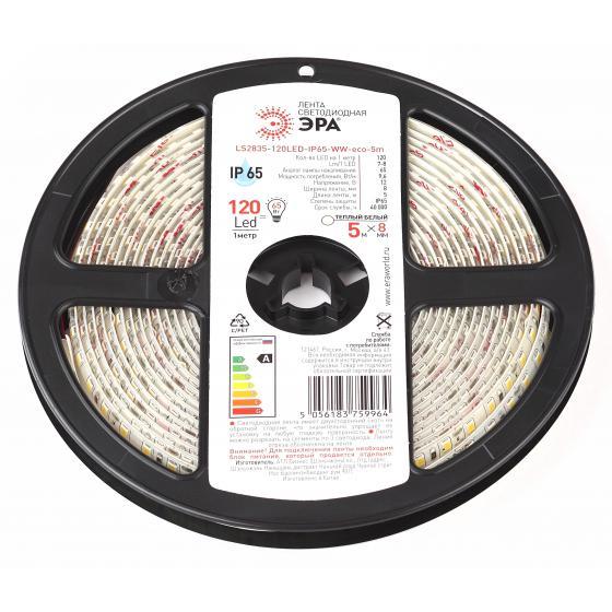 Лента светодиодная ЭРА Ls2835-120led-ip65-ww-eco-5m Б0035600 лента светодиодная эра ls3528 120led ip65 ww eco 5m