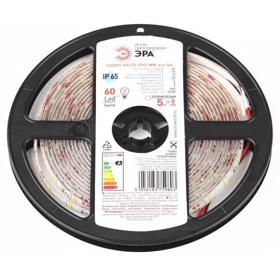 цена на Лента светодиодная ЭРА Ls2835-60led-ip65-ww-eco-5m Б0035592