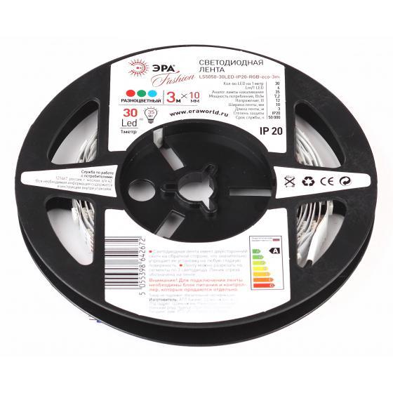 цена на Лента светодиодная ЭРА Ls5050-30led-ip20-rgb-eco-3m Б0035601