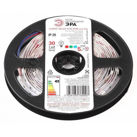 Лента светодиодная ЭРА Ls5050-30led-ip20-rgb-eco-5m Б0035602 лента светодиодная iek eco led lsr 3528r60 4 8 ip20 12v lsr1 6 060 20 1 05