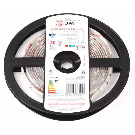 цена на Лента светодиодная ЭРА Ls5050-30led-ip65-rgb-eco-3m Б0035603