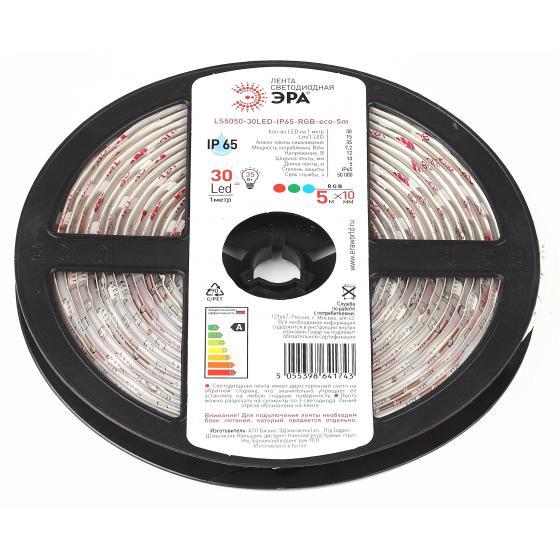 цена на Лента светодиодная ЭРА Ls5050-30led-ip65-rgb-eco-5m Б0035604
